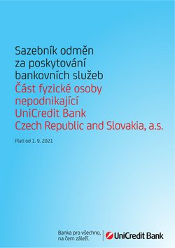 Banky a Služeb akce v Unicredit Bank katalogu ( Zbývá 4 dní)