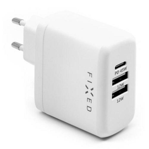 FIXED USB-C PD, 2x USB 2.0, 45W bílá (FIXC45-C2U-WH) akce v 749Kč